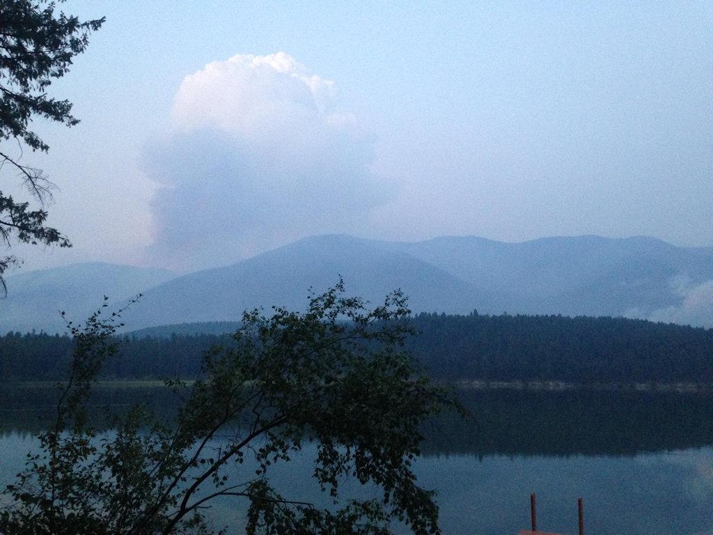 Mushroom Cloud Over Marston Fire - Aug 25, 2015- Evening