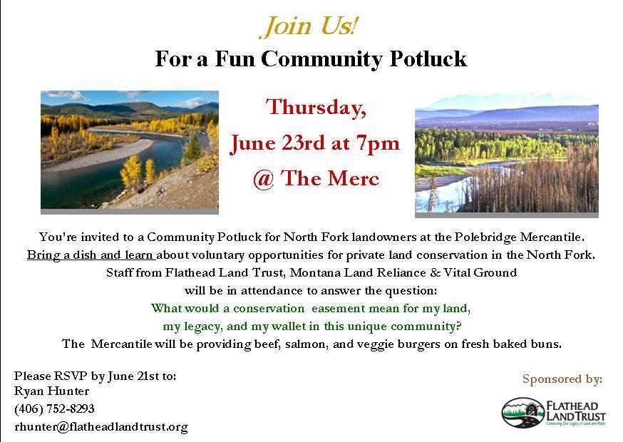 Landowner's potluck invitation - click to enlarge