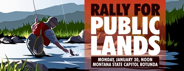 MWA Public Lands Rally banner, Jan 30, 2017
