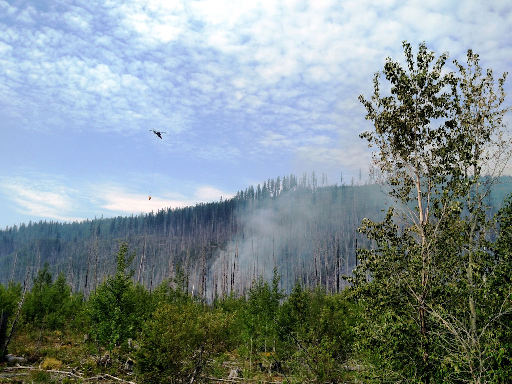 Glacier Rim Fire with Helicopter