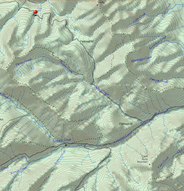 Location of fire W of Mt. Hefty