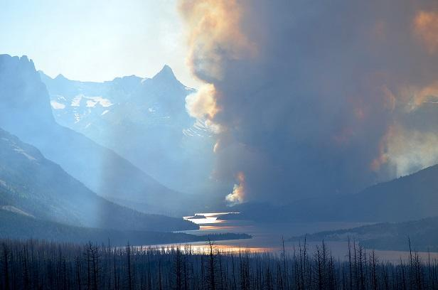 Reynolds Creek Fire - Smoke Plume Above St. Mary Lake, July 25, 2015
