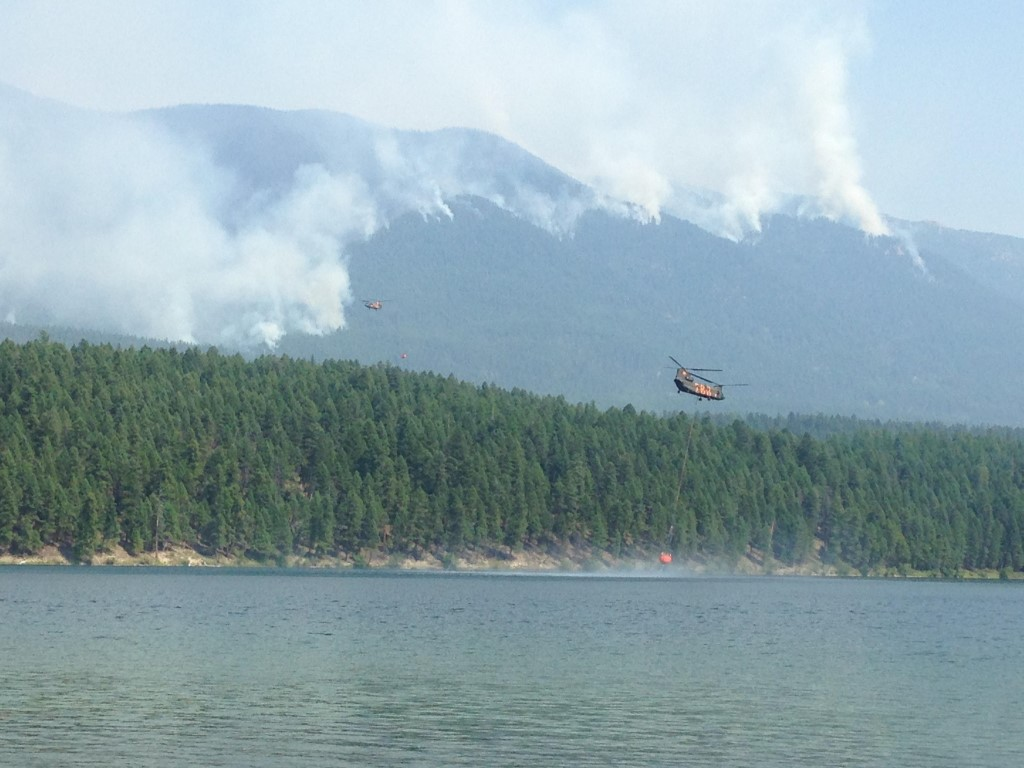 Chinook Helicopters on Marston Fire, Aug 19, 2015