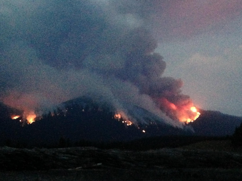 Evening burning on the Marston Fire, Aug 14, 2015
