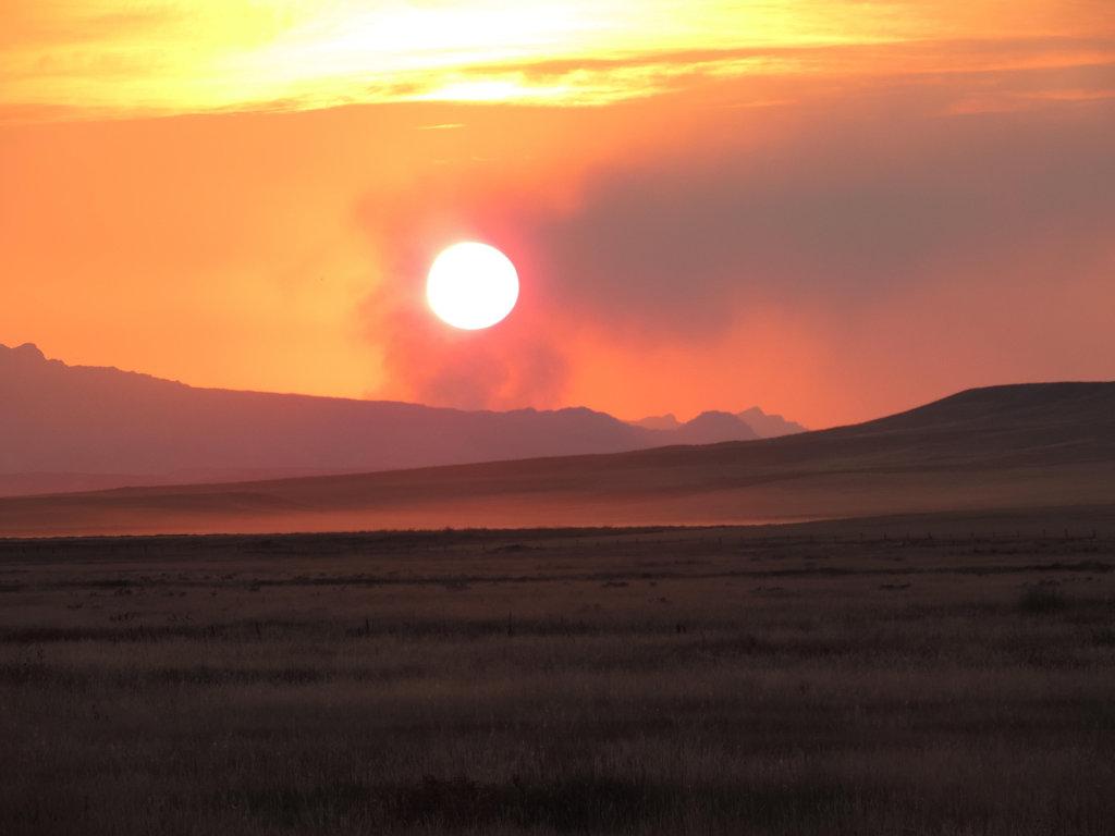 Glacier National Park Thompson Fire 2015 at Sunset