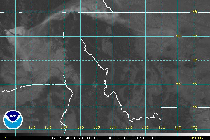 Satellite view of smoke plume from Central Washington - morning of August 1, 2015