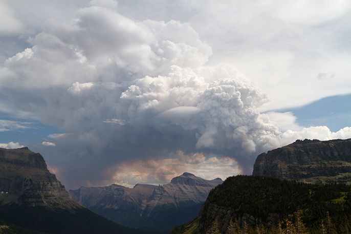 Smoke Plume from the Thompson Fire as seen from Logan Pass - NPS PHOTO-Andrew Englehorn