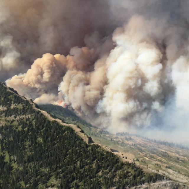 Thompson Fire burning on west side of Continental Divide, Aug 12, 2015