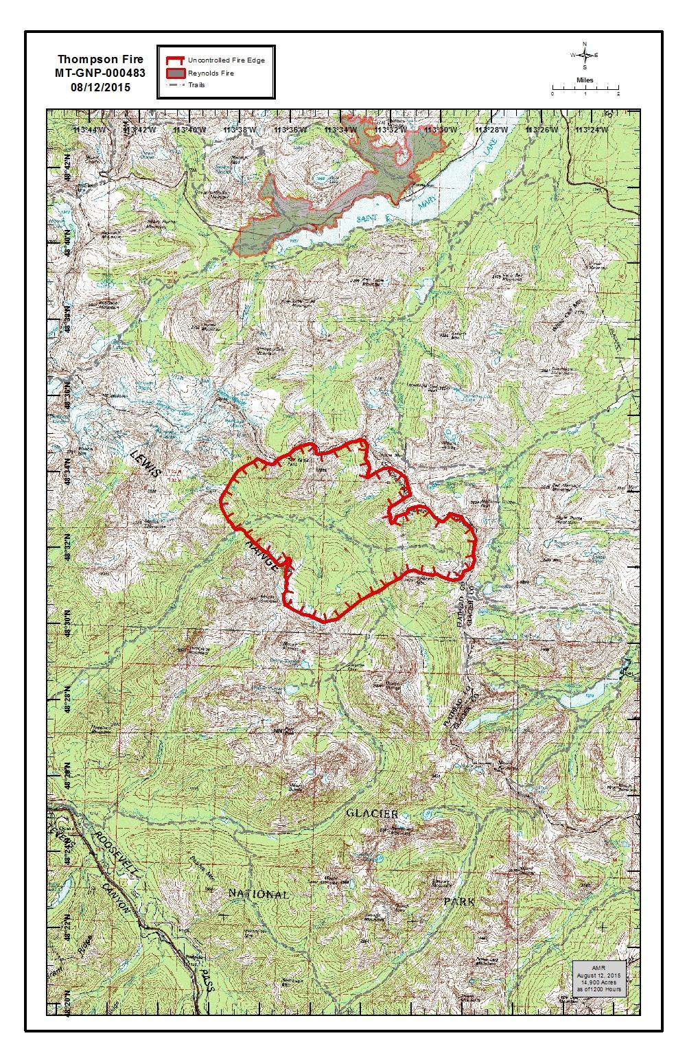 Thompson Fire Perimeter, Aug 12, 2015 PM