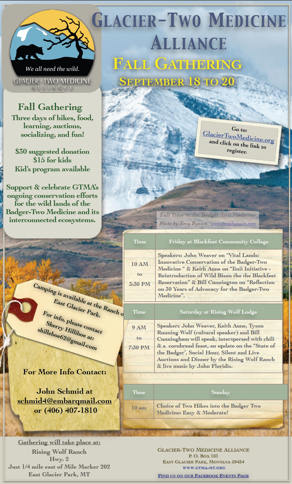 Glacier-Two Medicine Alliance 2015 Fall Gathering Poster