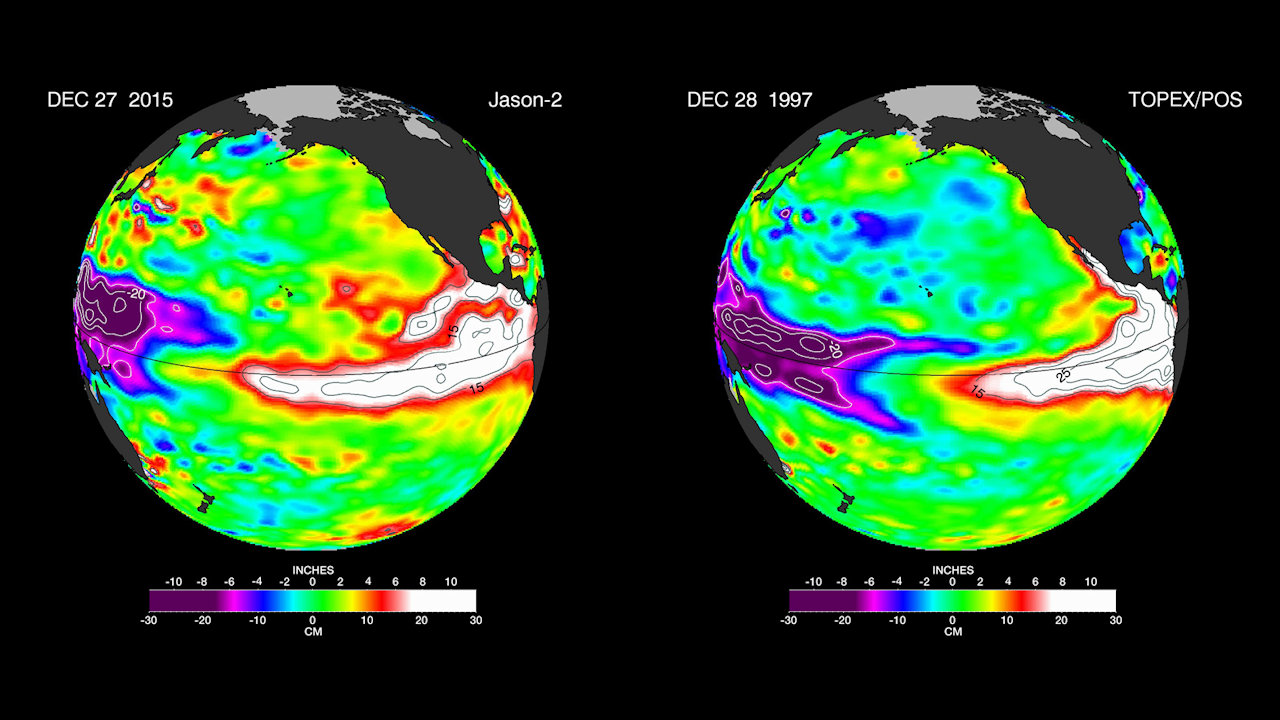 Global view of El Niño 2005 compared to El Niño 1997