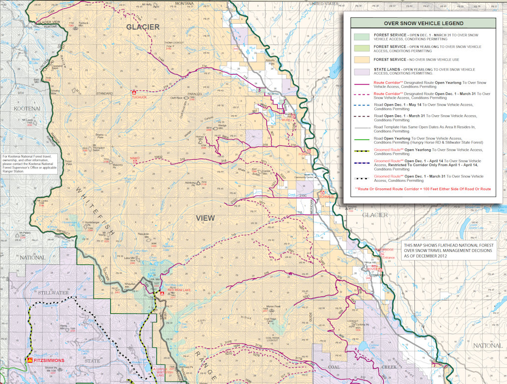 Over Snow Vehicle Use Map, 2013 - Glacier View Ranger District-North Half