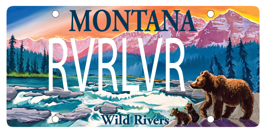 'Wild Rivers' license plate featuring North Fork Flathead