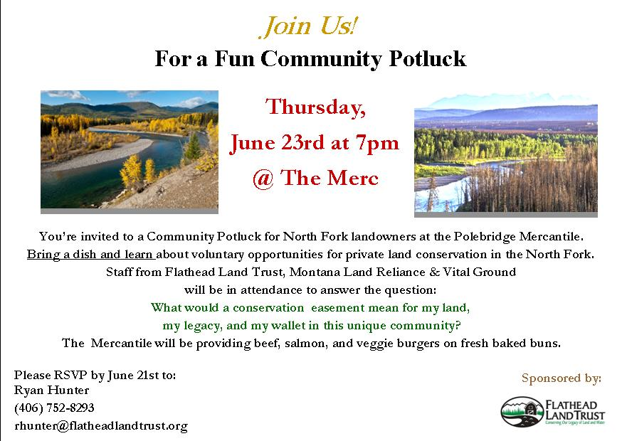 Landowner's potluck invitation - click to enlarge