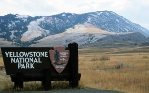 Yellowstone National Park sign at the North Entrance - Jim Peaco, NPS, October 1992