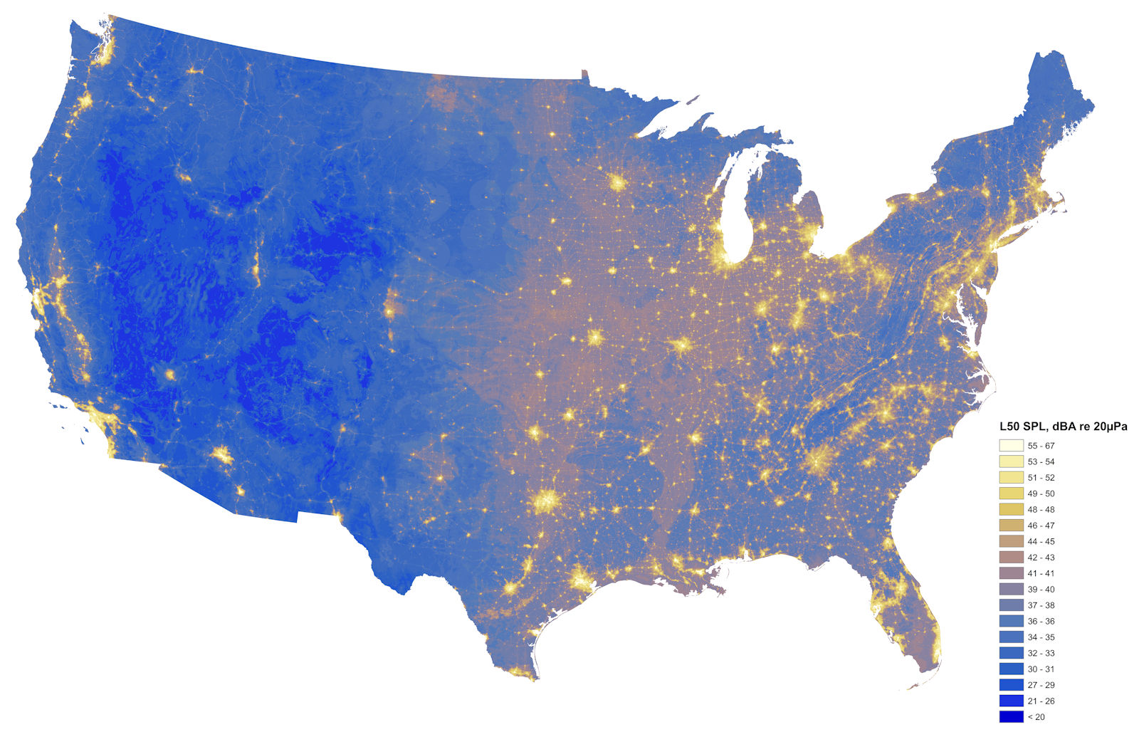 Sound level map of continental US