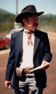 John Frederick at the 1987 Polebridge Forth of July parade
