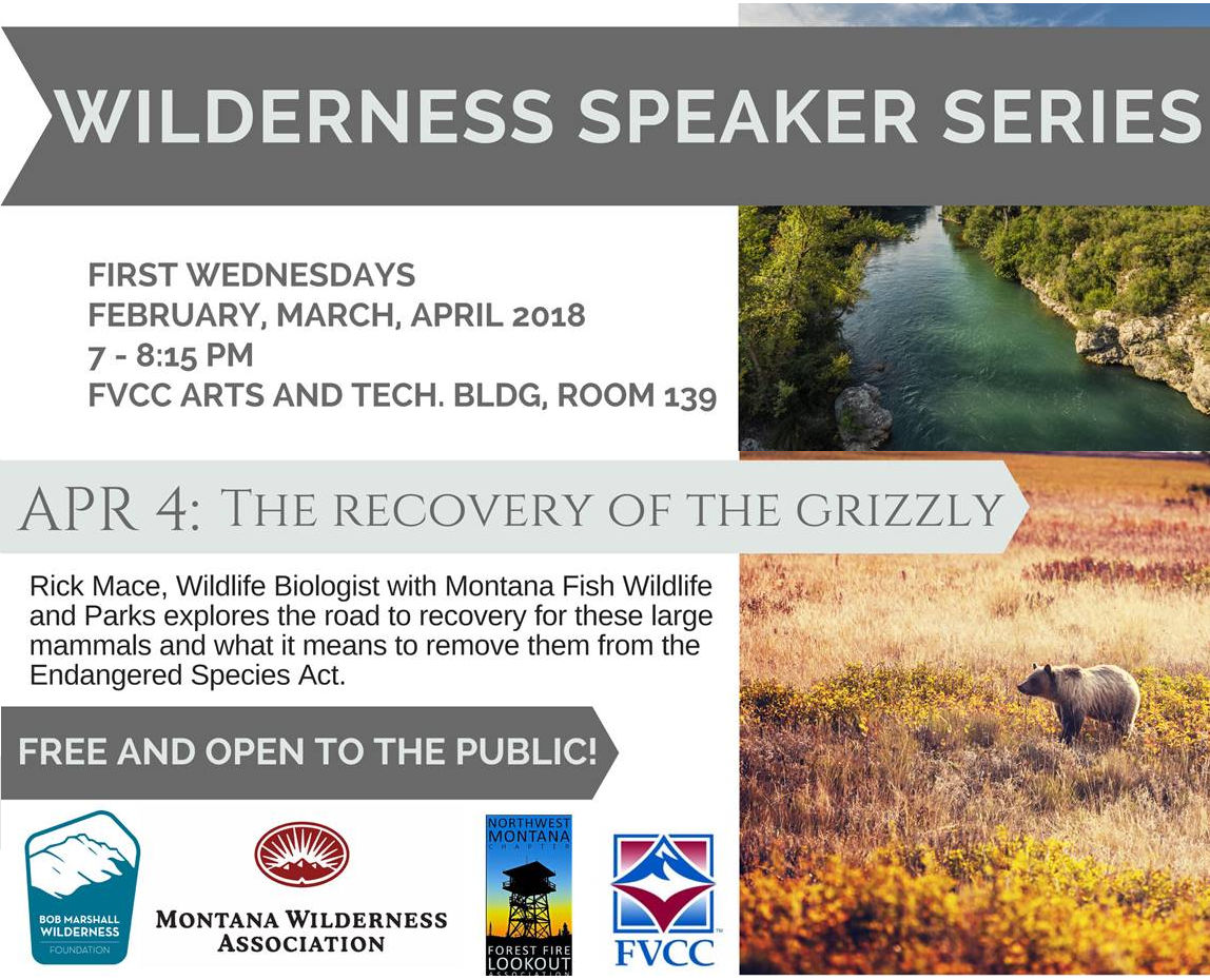 Wilderness Speaker Series 2018 Poster - April Presentation