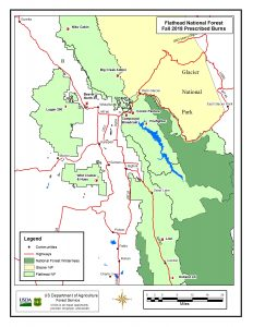 Map of 2018 Spring Prescribed Burns - Flathead NF