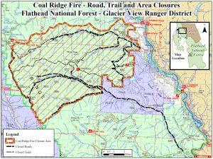 Coal Ridge Fire - Road, Trail and Area Closures, Aug 13, 2018