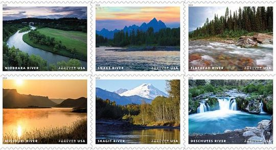 The Flathead and Missouri rivers are featured in a stamp series celebrating the 50th anniversary of the passage of the Wild and Scenic Rivers Act in 1968 - USPS photo