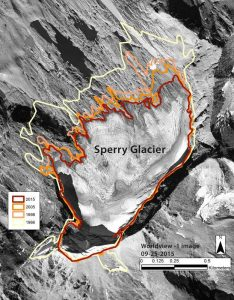 Satellite image showing how Glacier National Park's Sperry Glacier ice field has shrunk from roughly 300 acres in 1966 to 215 acres in 2015 - USGS supplied image